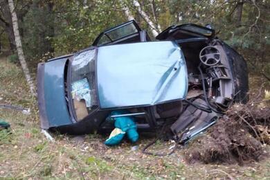 В Калинковичском районе Seat вылетел вкювет, врезался вдерево иперевернулся