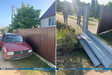 В Дрогичине 17-летний парень наVolkswagen снес забор жилого дома
