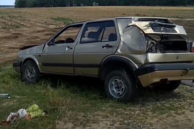 В Пружанском районеVW опрокинулся вкювет— непристегнутый водитель вылетел изсалона ипогиб