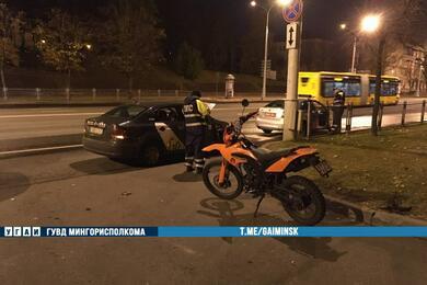 На столичном проспекте Независимости ваварии пострадал мотоциклист