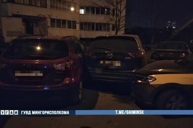 В Минске пьяная бесправница наVW протаранила пять припаркованных авто