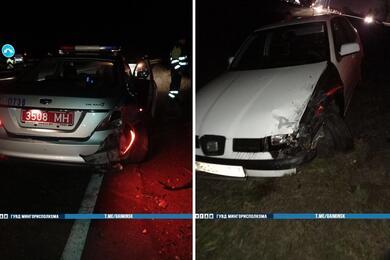 На трассе М3 вМинском районе столкнулись Seat иавтомобиль ГАИ