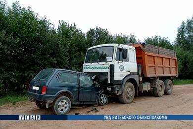 В Толочинском районе «Нива» заехала под стоящий грузовик
