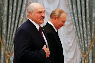 Russian President Putin and Belarusian President Lukashenko attend a news conference in Moscow