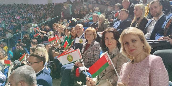 """Форум в """"Минск-арене"""". На снимке видно, что многие были без масок, несмотря на новую волну коронавируса.Фото из телеграм-канала Минтруда"""