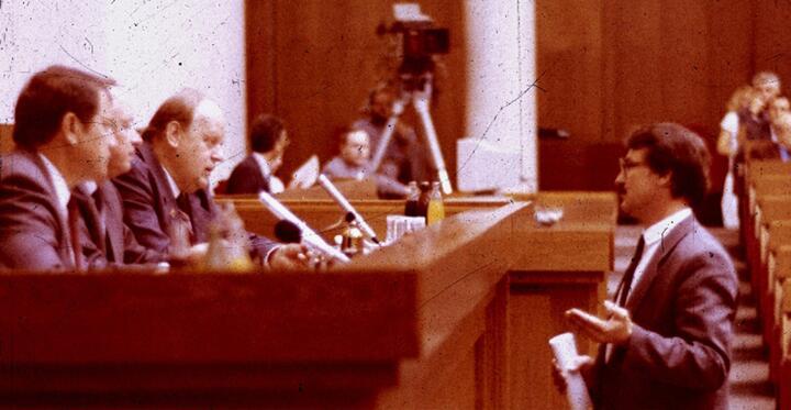 Заседание Верховного Совета 12 созыва. Слева - Станислав Шушкевич, справа- Валентин Голубев. Август 1991 года. Фото: vytoki.net