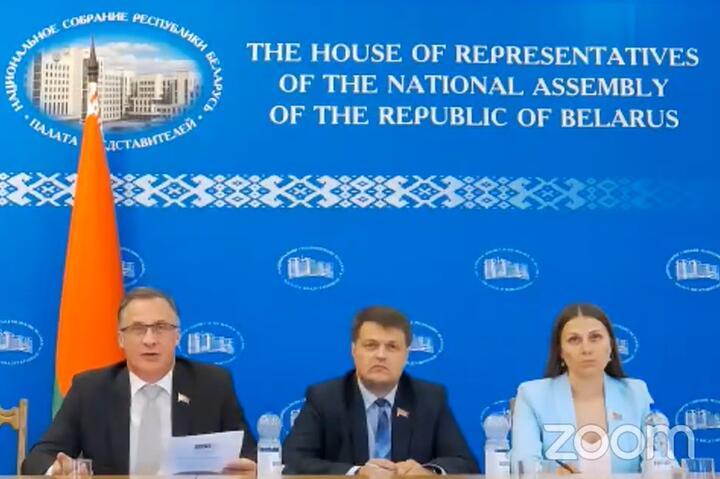 Белорусская делегация принимала участие в акрытии летней сессии Парламентской ассамблеи ОБСЕ удаленно. Скриншот трансляции