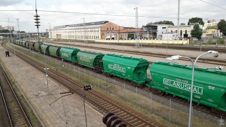 Грузовой поезд с вагонами Беларуськалия в Вильнюсе
