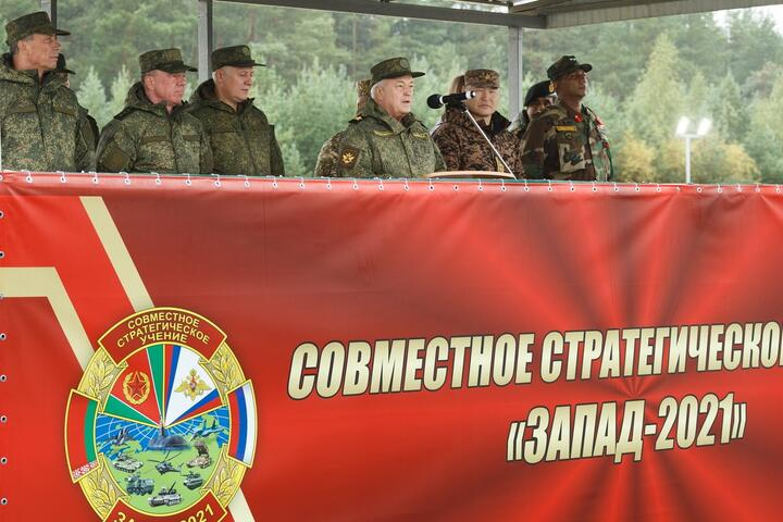 Церемония открытия совместного стратегического учения «Запад-2021» на полигоне Мулино в Нижегородской области. Фото: Министерство обороны России