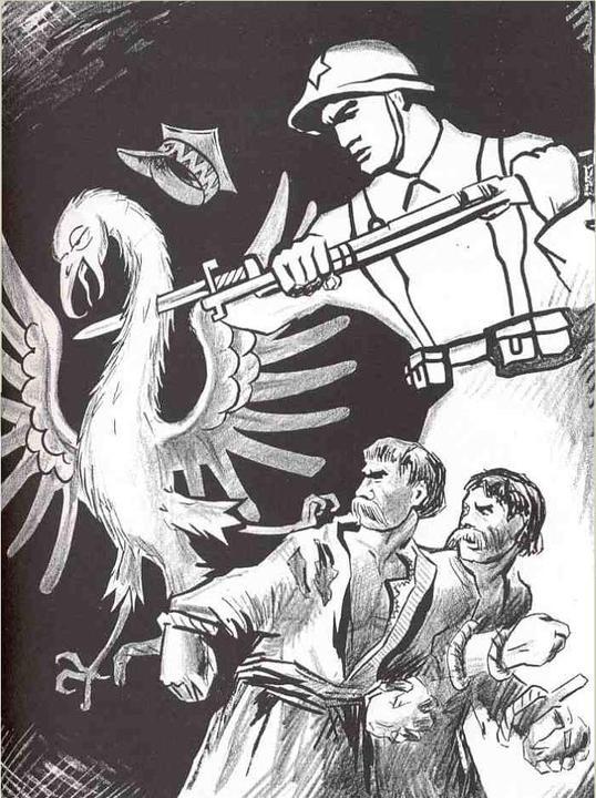 Красноармеец поражает польского орла, освобождая от гнета украинских и белорусских крестьян. Советский плакат 1939 года. Фото: wikimedia.org