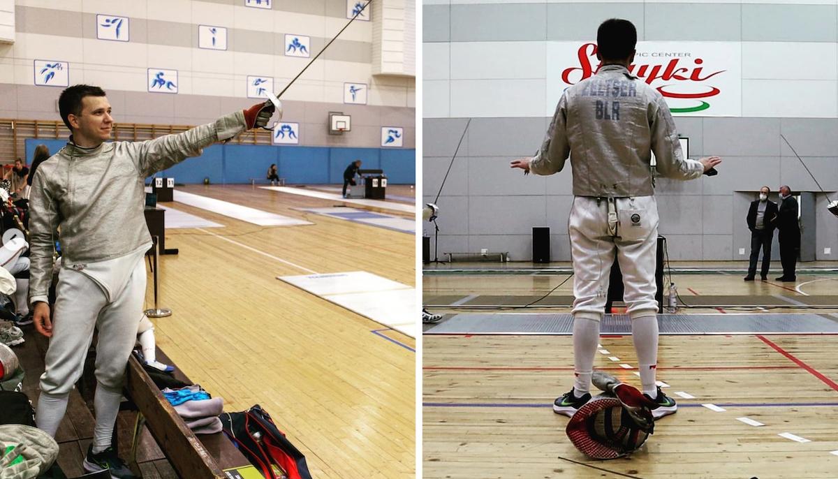 """Коллаж: Андрей Зельцер на соревнованиях по фехтованию в """"Стайках"""" в сентябре, снимки взяты из его Instagram @andrewzeltser"""